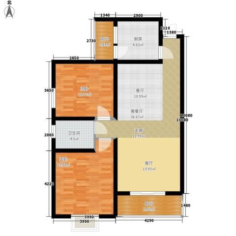 天成国际花园2室1厅1卫1厨96.00㎡户型图