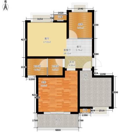 天成国际花园2室1厅2卫1厨87.00㎡户型图