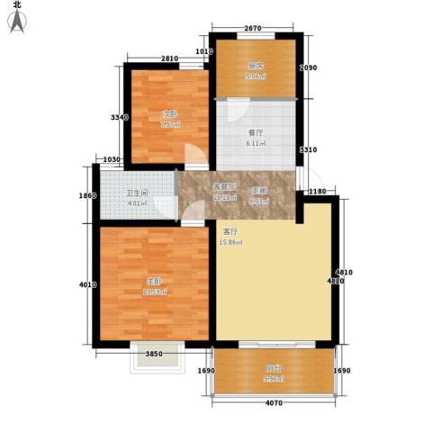 天成国际花园2室1厅1卫1厨74.00㎡户型图