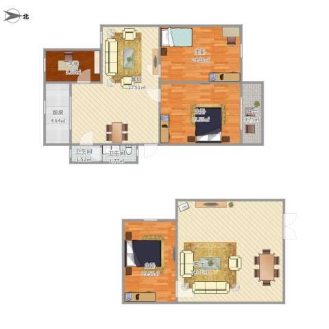 学府人家2期4室2厅2卫1厨164.00㎡户型图