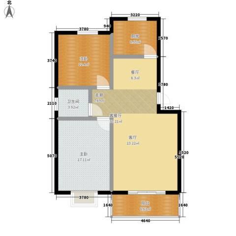天成国际花园2室1厅1卫1厨95.00㎡户型图