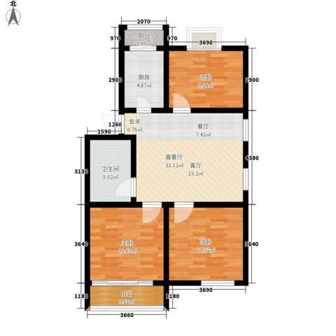 红星小区3室1厅1卫1厨80.00㎡户型图