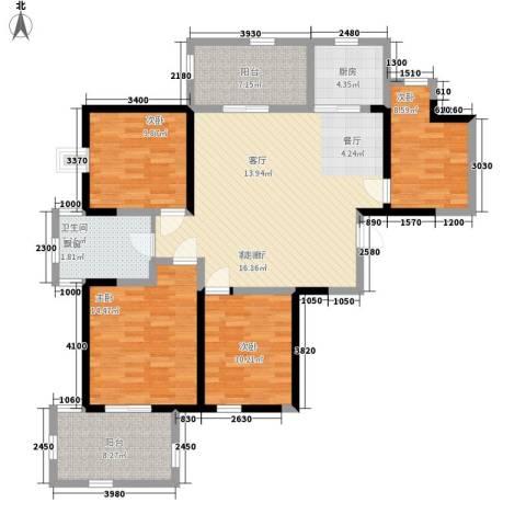 华辰丽景4室1厅1卫1厨115.00㎡户型图