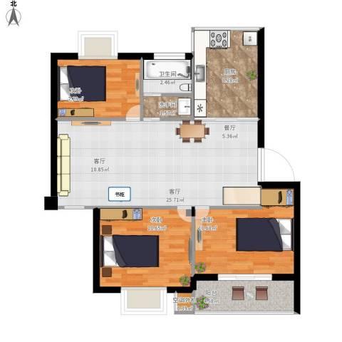 盛世又一村3室1厅1卫1厨90.00㎡户型图