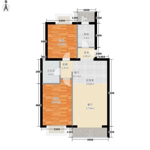 京东领秀城2室0厅1卫1厨86.00㎡户型图