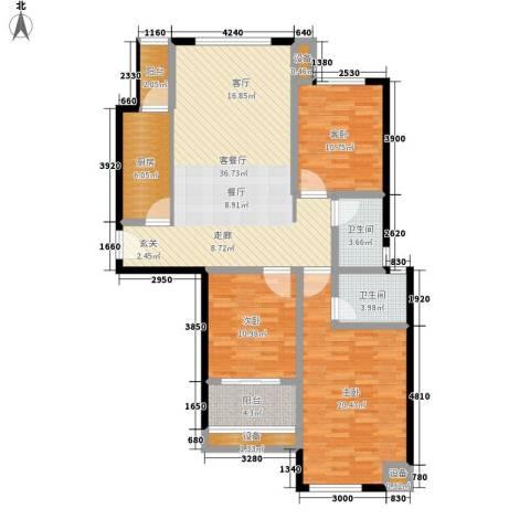财富公馆3室1厅2卫1厨117.00㎡户型图
