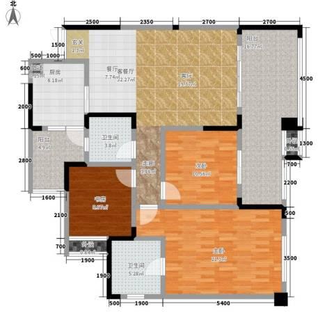 人和华夏城3室1厅2卫1厨137.00㎡户型图