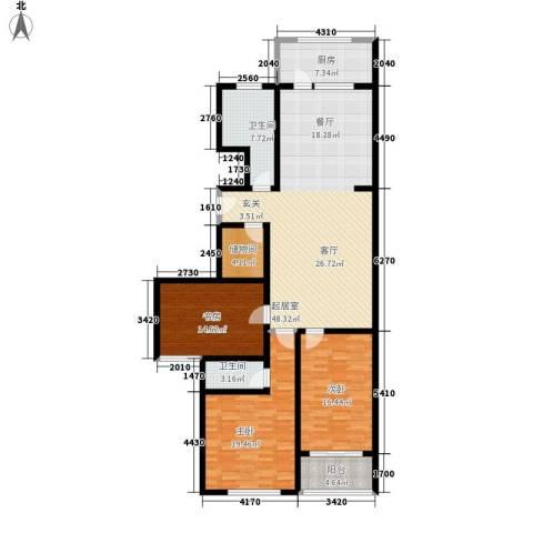 兴隆石榴园3室0厅2卫1厨144.00㎡户型图