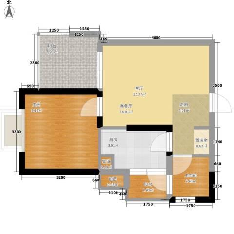 白马凼1室1厅1卫1厨50.00㎡户型图