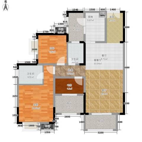 保利椰风半岛3室1厅2卫1厨90.00㎡户型图
