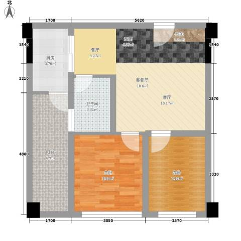 星东・上海花园2室1厅1卫1厨56.60㎡户型图
