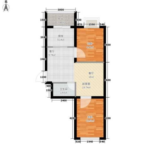 梧桐花园小区2室0厅1卫1厨66.00㎡户型图