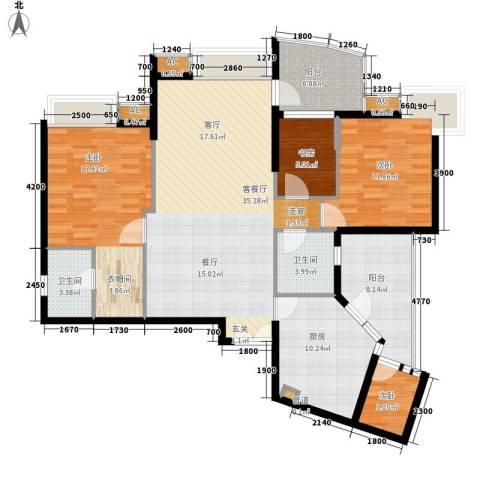 广州雅居乐花园・天域4室1厅2卫1厨121.00㎡户型图