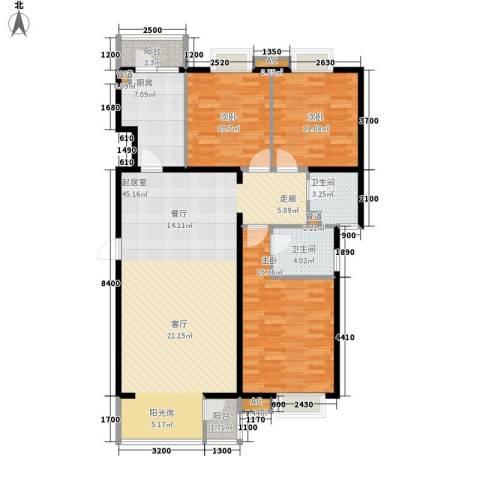 石油佳苑3室0厅2卫1厨109.00㎡户型图