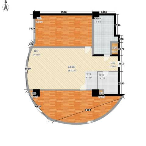 发祥1号公馆2室1厅1卫1厨136.95㎡户型图