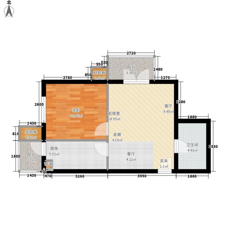 华郡新苑61.66㎡A房型面积6166m户型