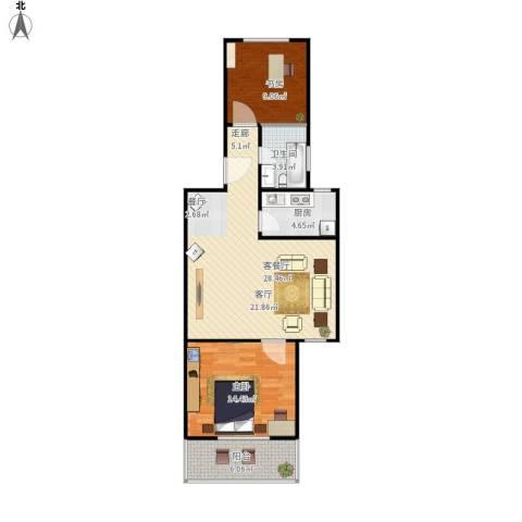 虹北公寓2室1厅1卫1厨90.00㎡户型图