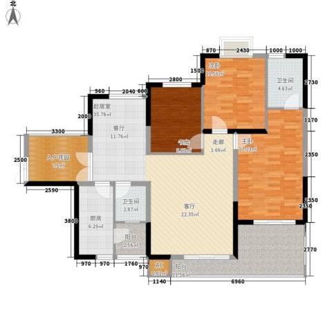 石油佳苑3室0厅2卫1厨109.21㎡户型图