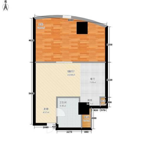发祥1号公馆1室1厅1卫0厨63.00㎡户型图