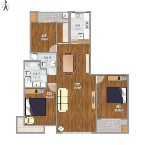 zbcs3室1厅2卫1厨103.56㎡户型图