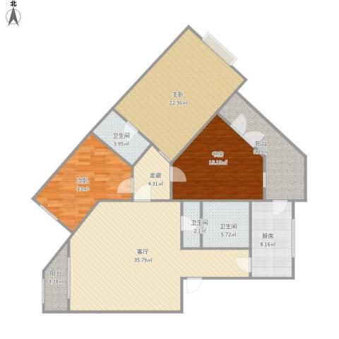 天通苑东一区3室1厅3卫1厨166.00㎡户型图