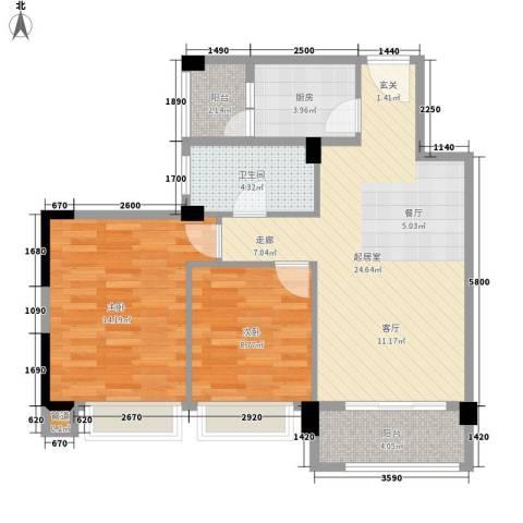龙凤春晓2室0厅1卫1厨88.00㎡户型图