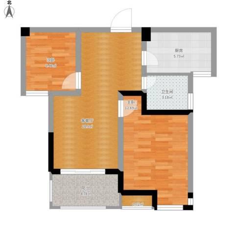 滨湖香江龙韵2室1厅1卫1厨77.00㎡户型图