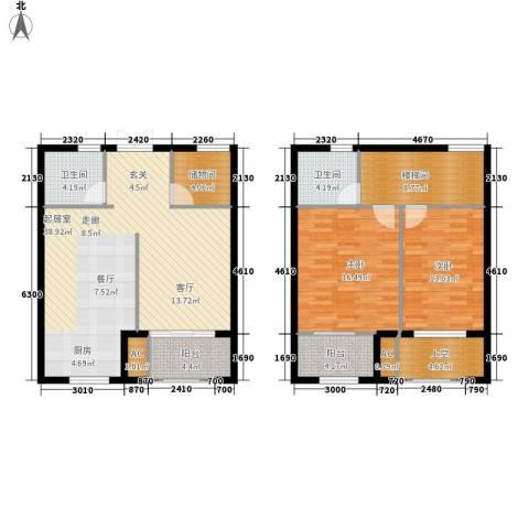 御景山庄紫金园2室0厅2卫0厨104.64㎡户型图