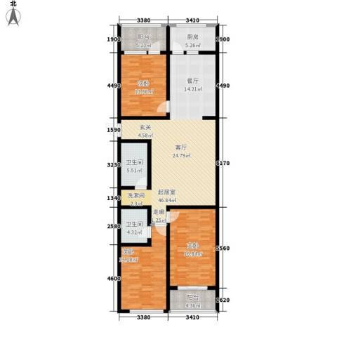 兴隆石榴园3室0厅2卫1厨134.00㎡户型图