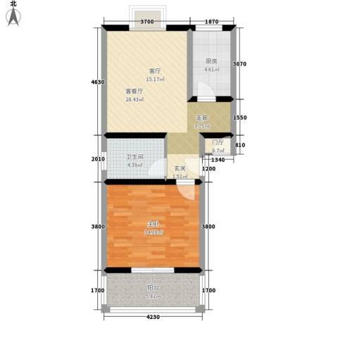 西航花园1室1厅1卫1厨66.00㎡户型图