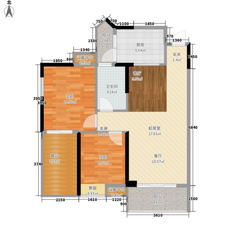 江宇世纪城80.63㎡1#1单元02、2单元2室01户型2室2厅