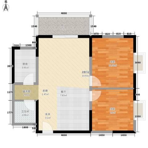 爱情公寓2室0厅1卫1厨84.00㎡户型图