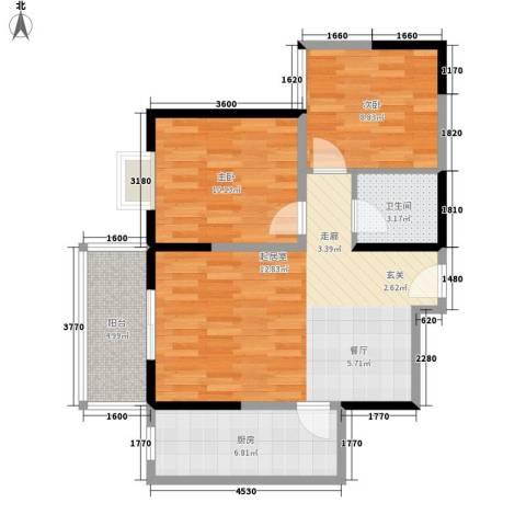 爱情公寓2室0厅1卫1厨81.00㎡户型图