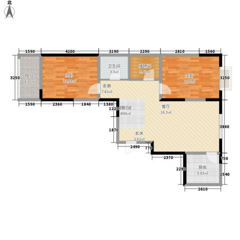爱情公寓2室0厅1卫1厨94.00㎡户型图