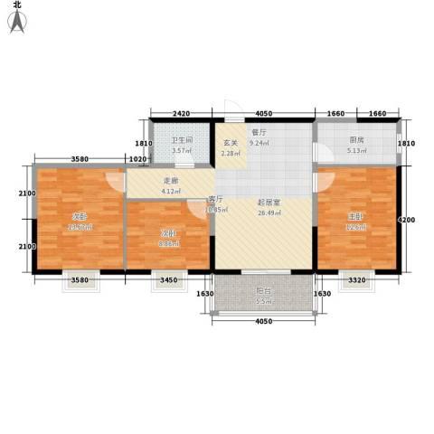 爱情公寓3室0厅1卫1厨101.00㎡户型图