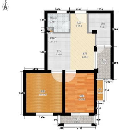 湖滨1号2室1厅1卫1厨69.00㎡户型图