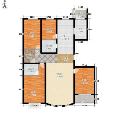 水木清华苑4室1厅2卫1厨204.00㎡户型图