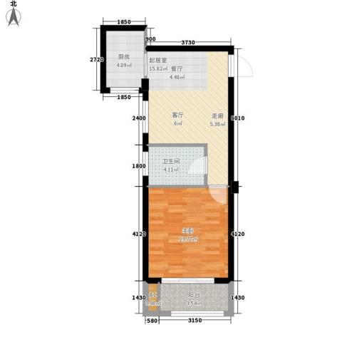 盛大花园1室0厅1卫1厨57.00㎡户型图