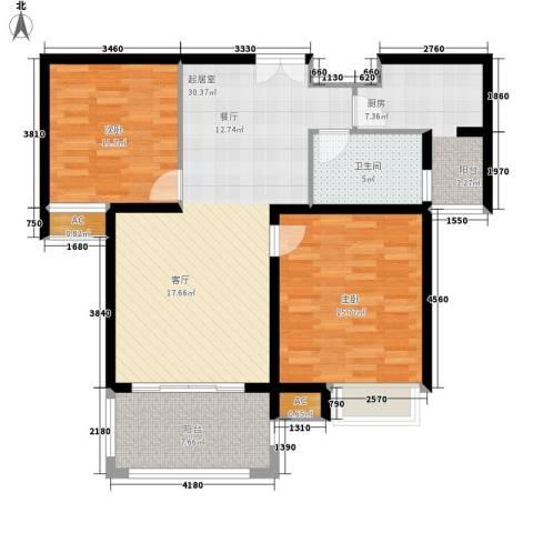汉鼎瑞和园2室0厅1卫1厨92.00㎡户型图