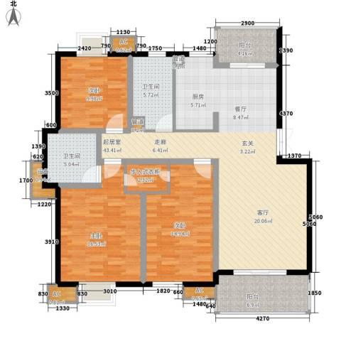 明辉花园3室0厅2卫0厨130.00㎡户型图