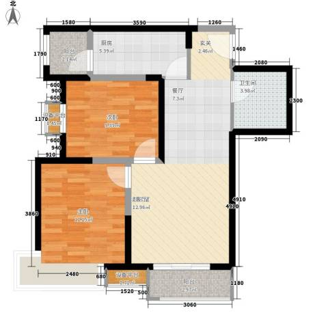 丽新里2室0厅1卫1厨80.00㎡户型图