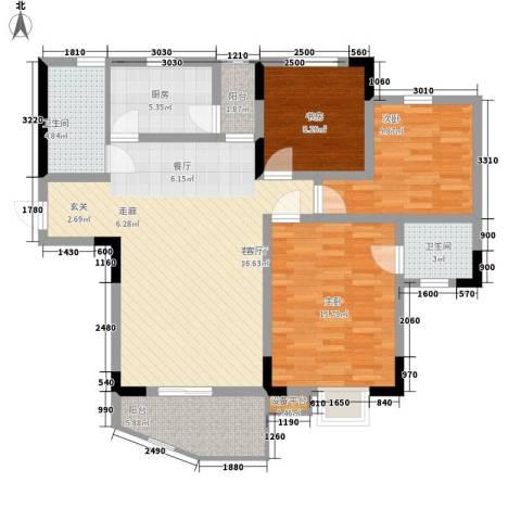光华南桥人家3室1厅2卫1厨126.00㎡户型图
