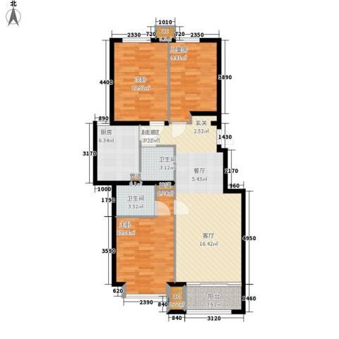 建国小区3室0厅2卫1厨114.00㎡户型图