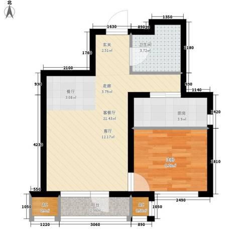 京汉铂寓1室1厅1卫1厨70.00㎡户型图