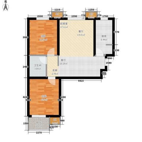 大业时代广场唐山义乌国际商贸城2室0厅1卫1厨94.00㎡户型图