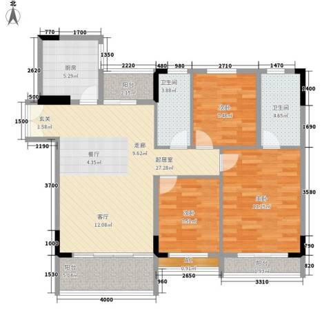 喜盈雅境3室0厅2卫1厨99.00㎡户型图