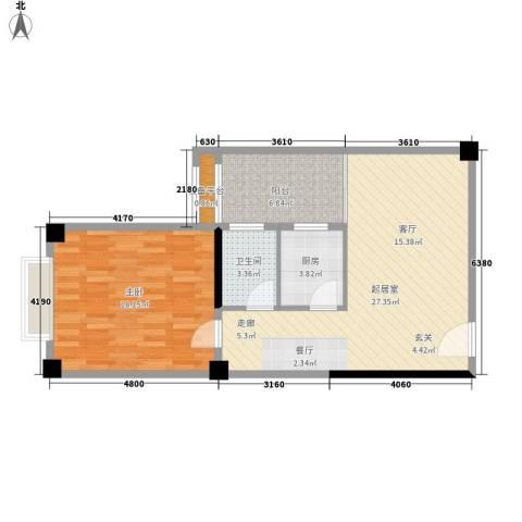 君悦春江花园1室0厅1卫1厨67.00㎡户型图