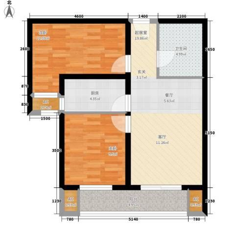 大业时代广场唐山义乌国际商贸城2室0厅1卫1厨84.00㎡户型图