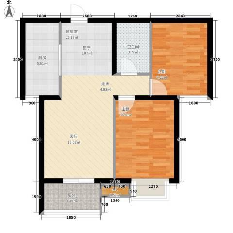 大业时代广场唐山义乌国际商贸城2室0厅1卫1厨80.00㎡户型图