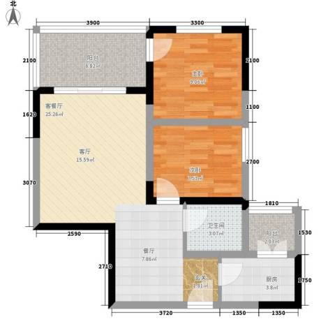 国窖明城2室1厅1卫1厨63.00㎡户型图